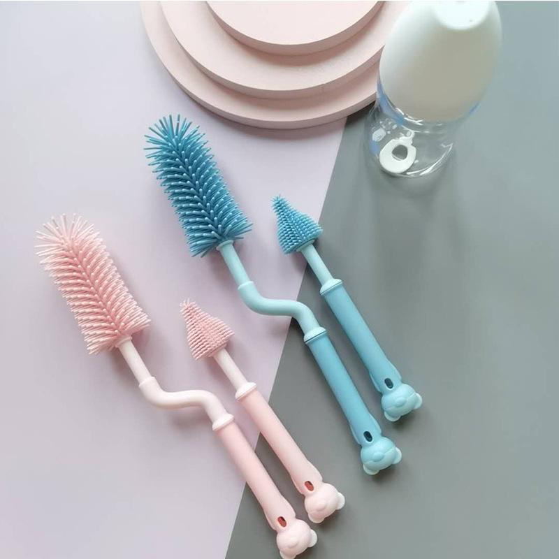 360 Degree Rotating Baby Long-Handled Nipple Brush Hang Cup Cleaning Brush Multifunctional Baby Silicone Bottle Brush