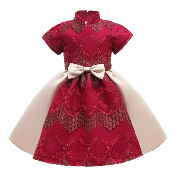 Autumn and Winter New Chinese Style Children′s Dress Princess Skirt Ancient Style Embroidered Short-Sleeved Dress