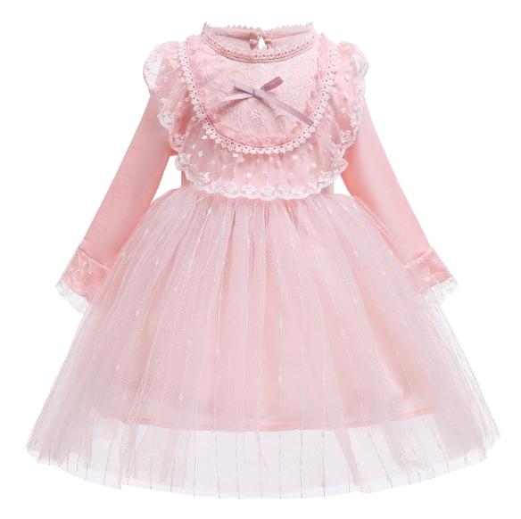 Girl Dress New Autumn Style Princess Dress Lolita Long-Sleeved Lace Gauze Dress