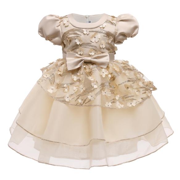 New Children′s Dress Princess Dress Puffy Sleeve Gauze Dress Show Dress Dress