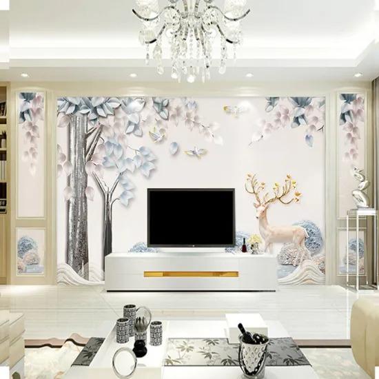 Nordic 8d Stereo Geometric Elk TV Background Wall Mural Modern Seamless Living Room Wallpaper