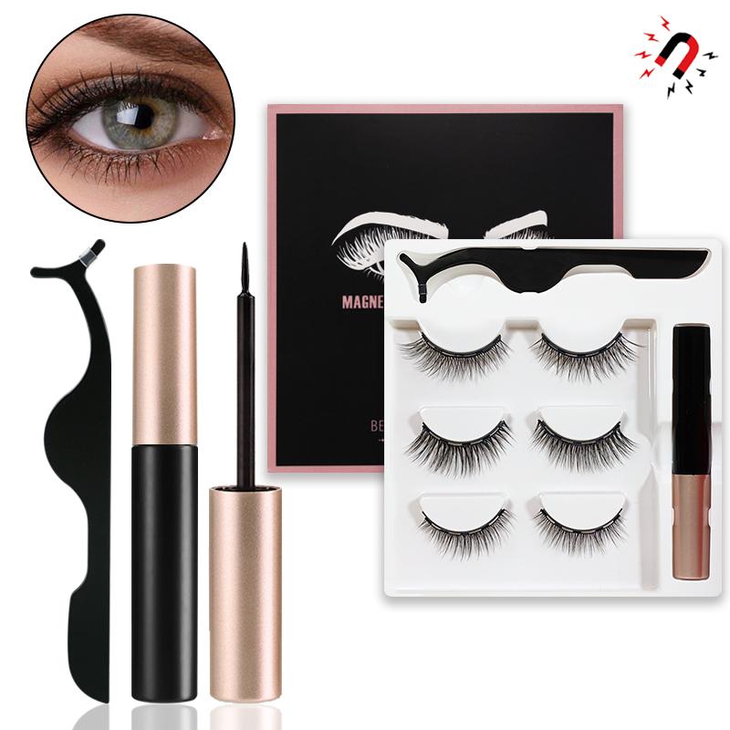 Occident Glue-Free Three Pairs of Magnetic Liquid Eyeliner and Magnetic False Eyelashes Set