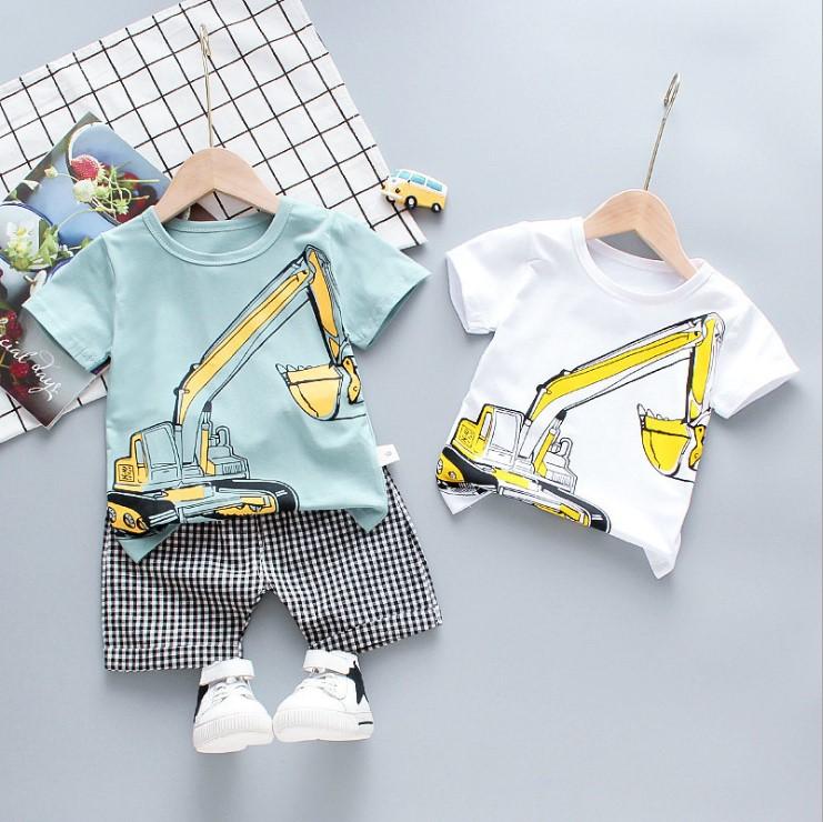 2PCS Children Wear Boys Toddler Clothes Short Sleeve T-Shirt Leisure Suit