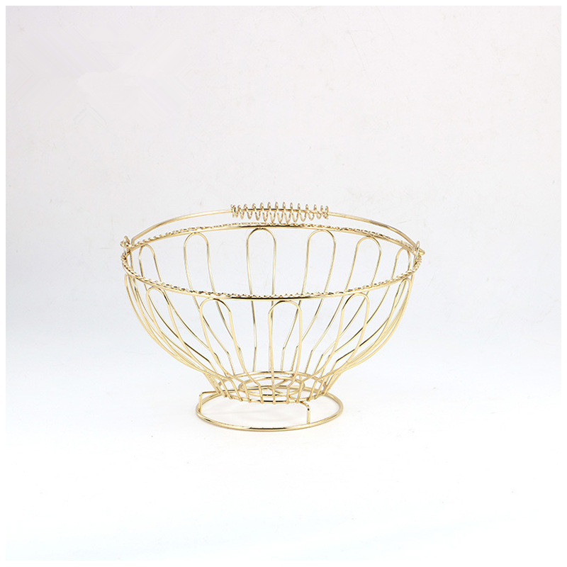 Fashion Creative European Style Exquisite Wire Process Electroplating Hollow Metal Fruit Basket Tray