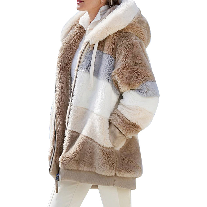 Autumn and Winter Loose Plush Multicolor Hooded Short Coat