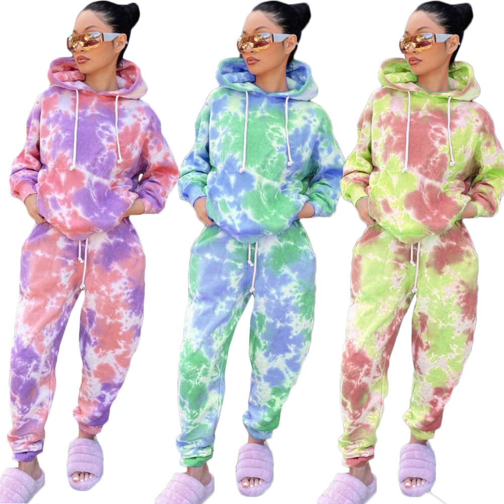 Tie-Dye Digital Print Fashion Casual Suit Loosewomen′s Wear with Velvet and Thick Hoodie
