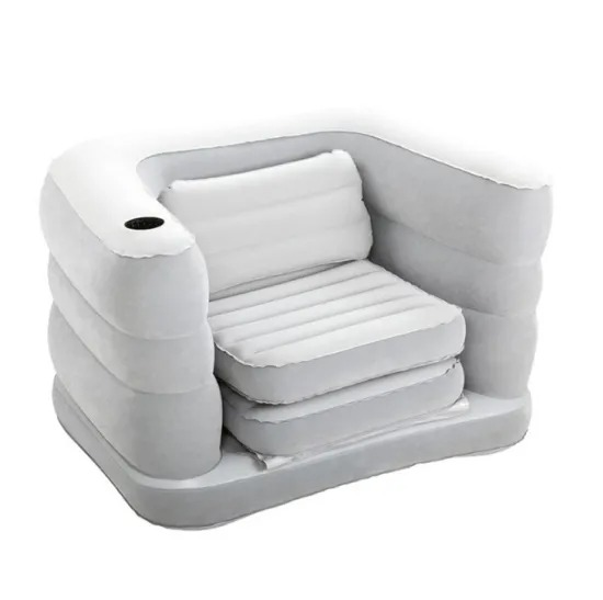 Two-in-One Single Flocking Inflatable Sofa Home Multi-Functional Outdoor Single Inflatable Bed
