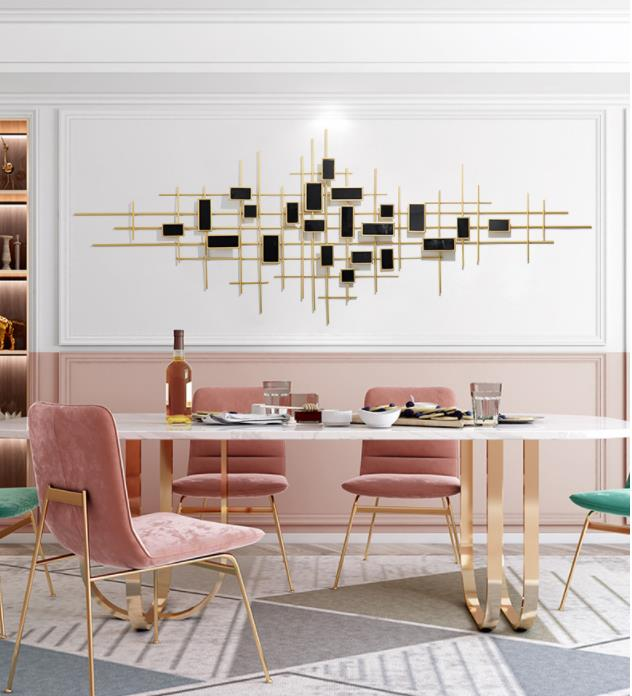 Low-Key Luxury 3D Wrought Iron Living Room Bedroom Decoration Pendant Wall Decoration