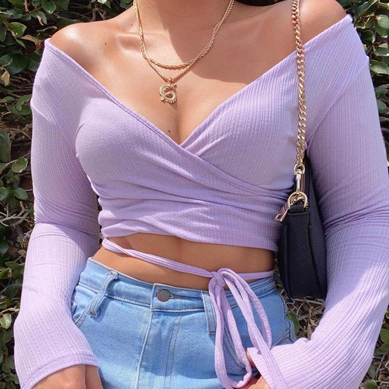 Women Sexy V-Neck off Shoulder Long Sleeve Crop Tank Top