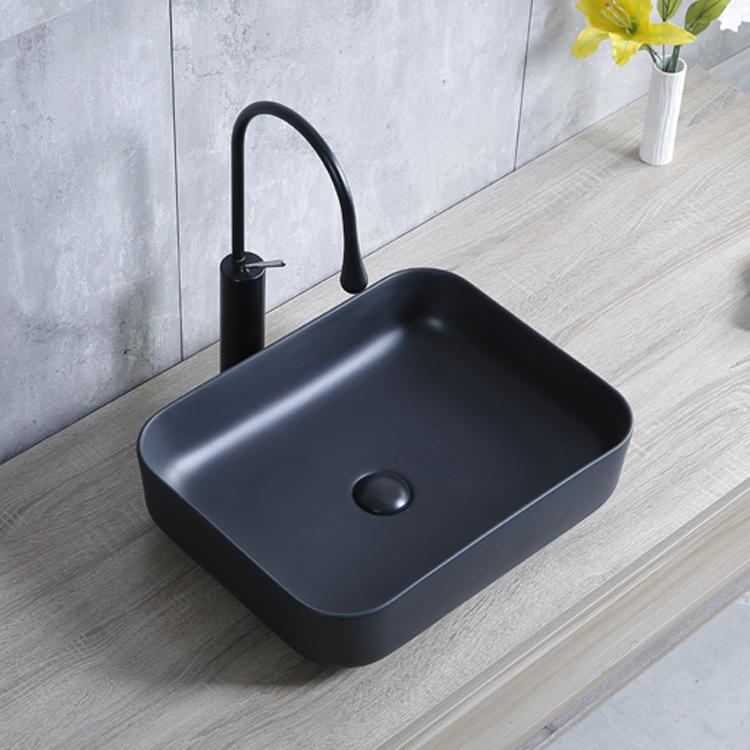 Simple Fashion and Generous Glazed Antifouling Easy to Clean Matte Black Ceramic Square Round Corner Wash Basin