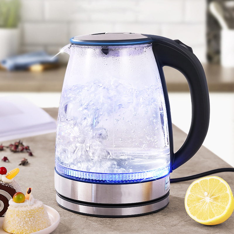 Auto Shut-off Glass 1.7L Electric Water Kettles with Blue LED Light