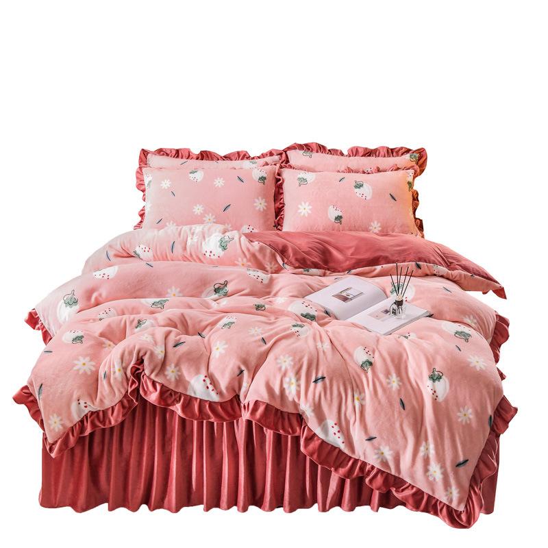 Winter Thick Milk Velvet French Velvet Coral Velvet Bed Skirt Four-Piece Bedding