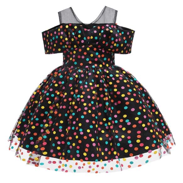 New Vintage Pot-DOT Children′s Skirt Princess Dress Runway Dress for Autumn
