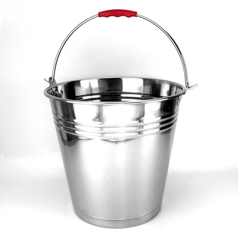 4L Metal Buckets with Handle 410 Stainless Steel Water Bucket Stainless Steel Pail