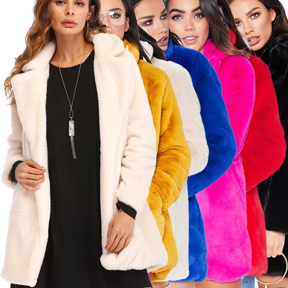 2021 New Style Designer Fashion Woman Winter Lapel Loose Fur Coat