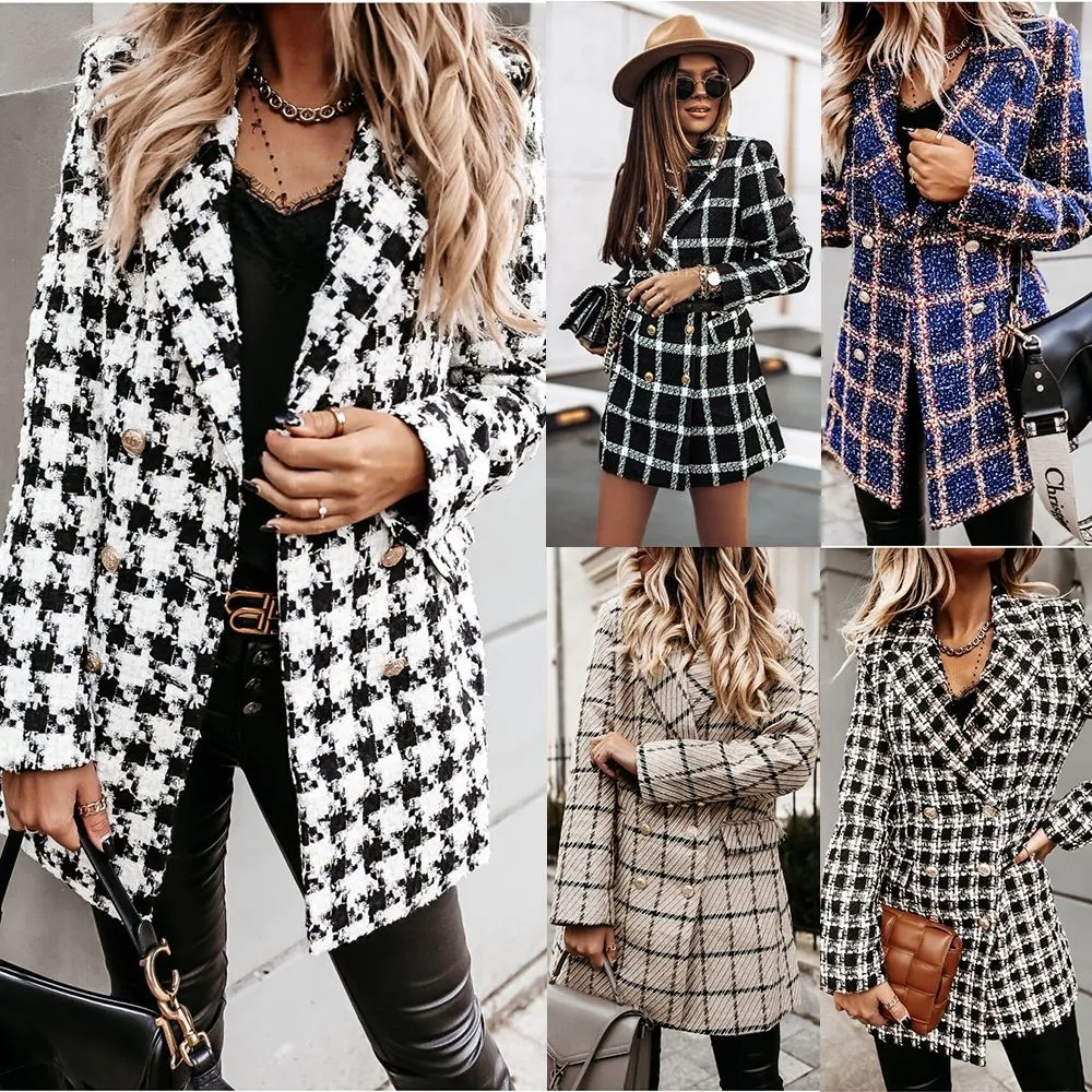 Autumn and Winter Woolen Clothprinted Thicken Lapel MID-Length Coat for Women Ladies