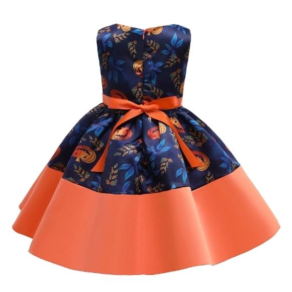 New Halloween Costume Pumpkin Print Dress Princess Dress for Children