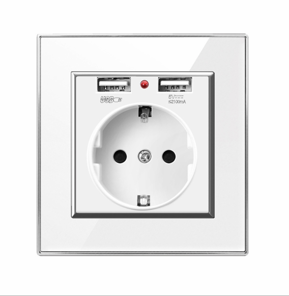 European Standard German Universal Wall Socket with Dual USB Charging for Wholesale