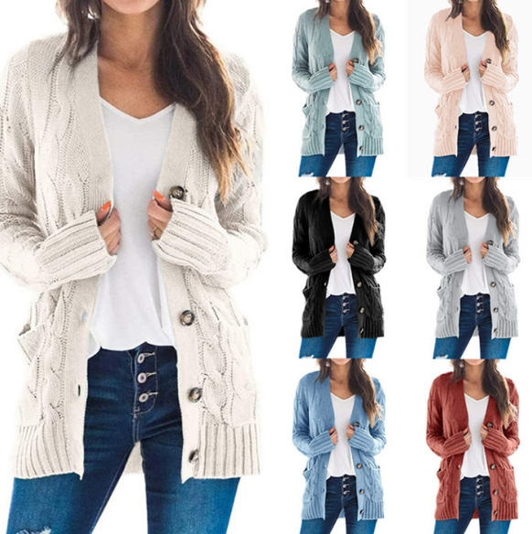 New Autumn and Winter Women′s Casual Cardigan Coat in Pure Color Twist Button Cardigan Sweater