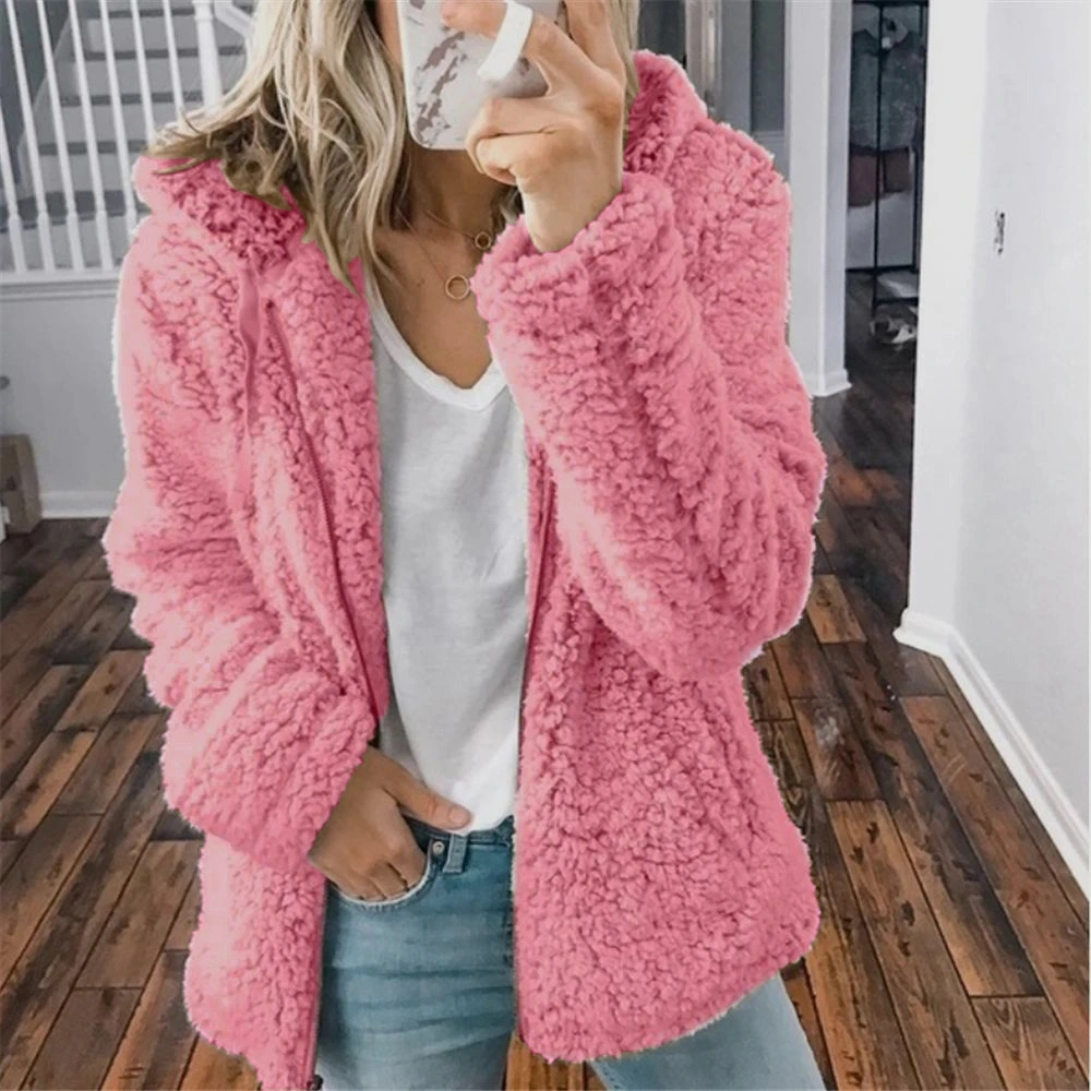 New Women′s Hooded Woolen Fleece Autumn and Winter Jacket