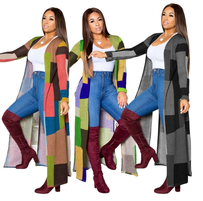 Fashion trendy hot selling women plaid printed long trench coat for ladies