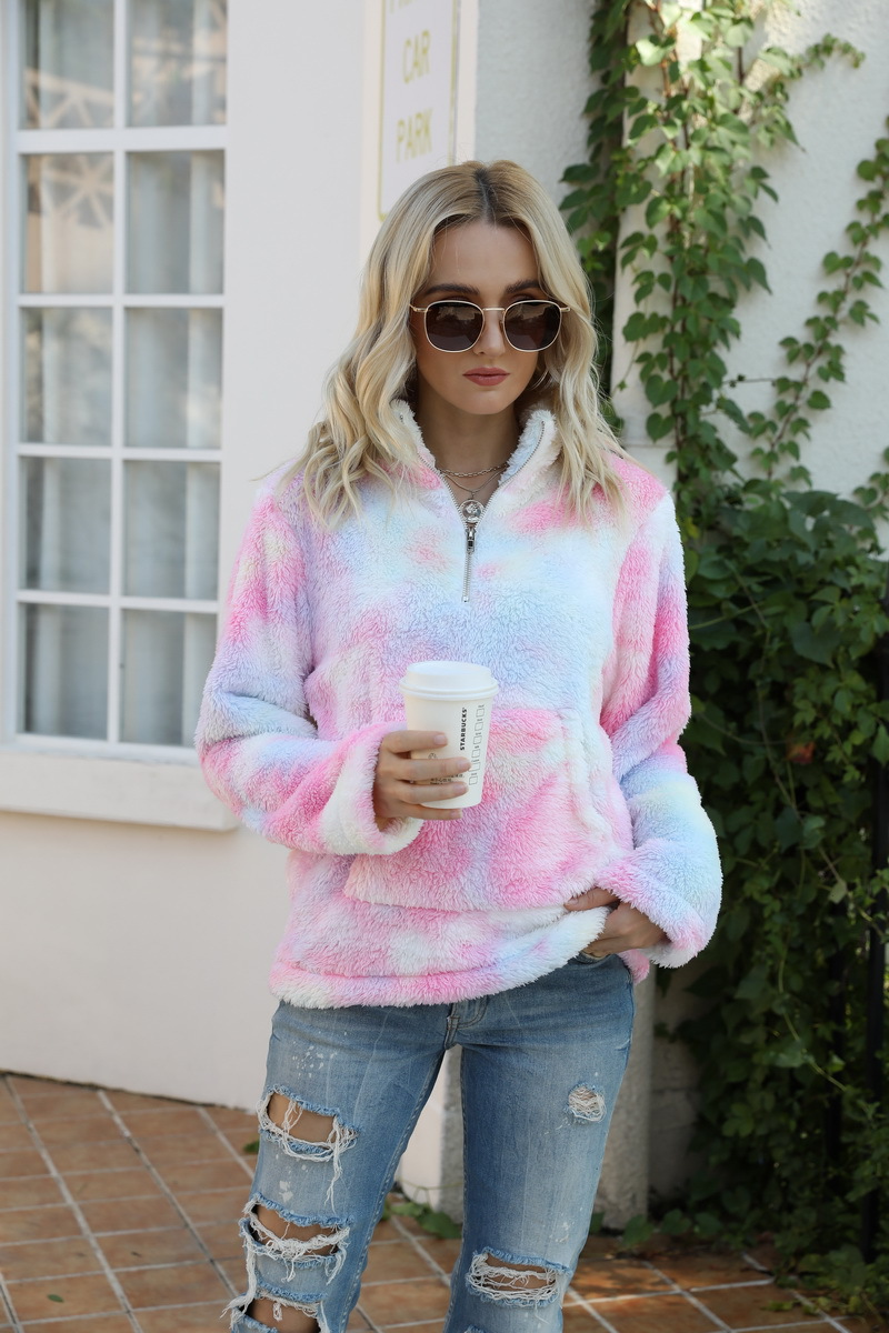 Autumn and Winter Personality Tie-Dye Zipper Stand Collar Pocket Long Sleeve Plush Women′s Sweater