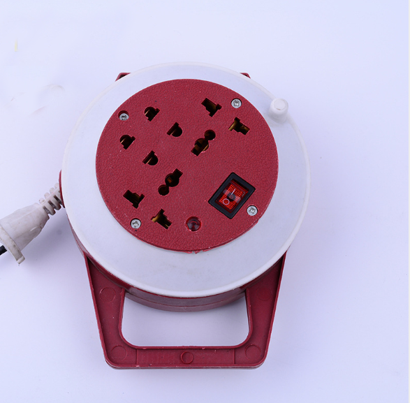 new design extension round electric multi socket with wire storage tray
