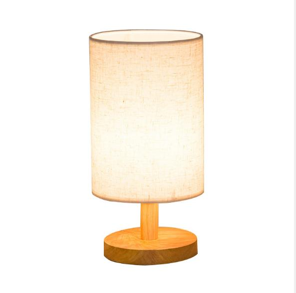 Modern Minimalist Hotel Bedroom Study Dormitory Cylinder LED Table Lights with Wooden Base