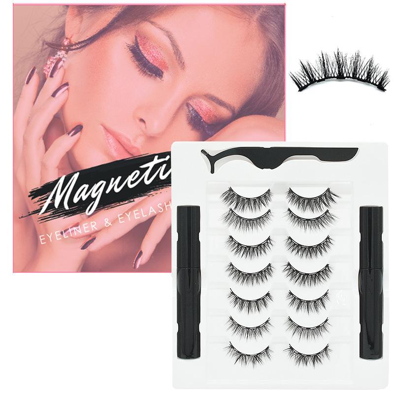 7 Pairs of 2 Sets of Magnetic False Eyelashes 3D Magnetic False Eyelashes