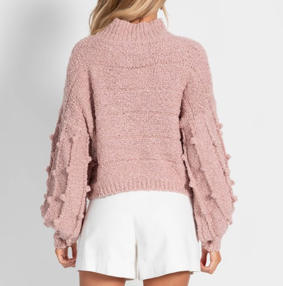 Decal Sweater Women Stand Neck Knit Autumn Winter New Languid Style V-Neck Pure Color Wool Balls Warm Sweater