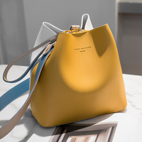 Korean Fashion 2021 Women Handbags Ladies One Shoulder PU Leather Bucket Shape Woman Bags