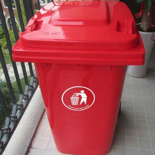 Plastic Dustbin 240L Plastic Waste Bins with Two Wheels Trash Can Waste Container Mv-240A