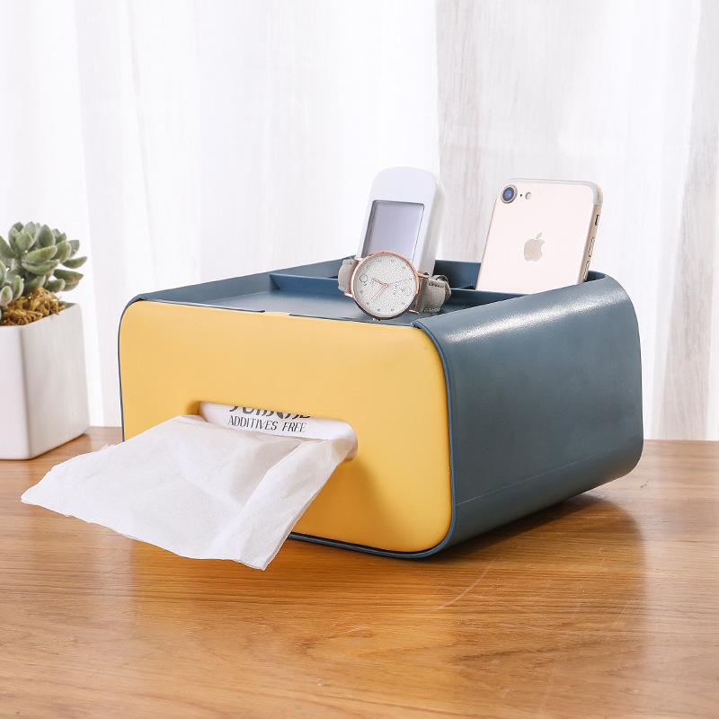Nordic Style Creative Multifunctional Desktop Pumping Box, Home Cute Remote Control Tissue Storage Box