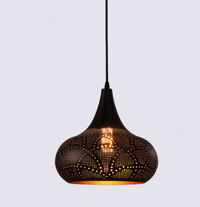 Nordic Wrought Iron Etching Garlic-Shape Pendant Lights for Restaurant or Cafe or Bedroom or Guest Room