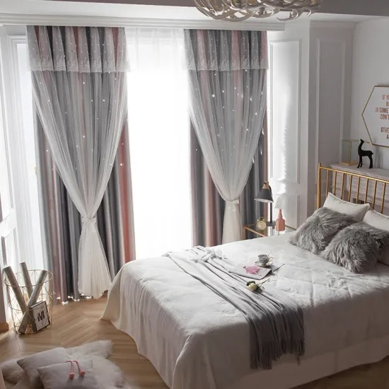 Princess Style Hollow Star Blackout Curtains Finished Custom Bedroom Window Curtains for Girls Room