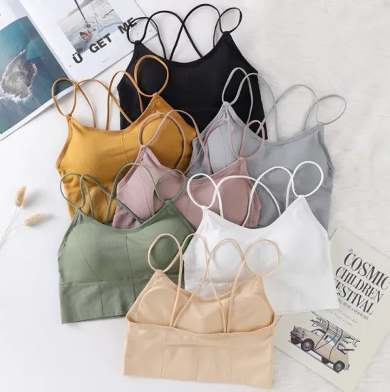 Women′s Halter Vest and Bra with Threaded Thin Shoulder Strap, Beautiful Back, Breast Wrap and Chest Matte Without Underwire