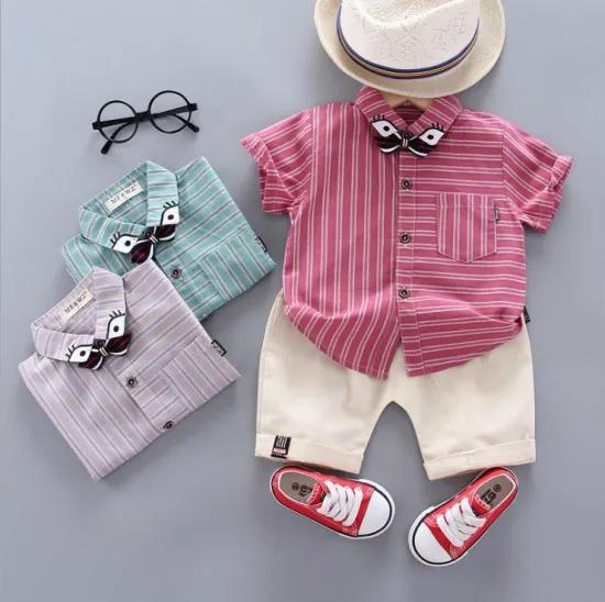 Summer Fashion Striped Short Sleeve Shirt Boys Leisure Suit Kids Clothing