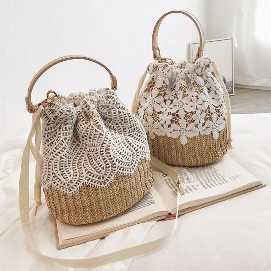 Amazon Hot Selling Cheap Handbags Small Fashion Draw String Women Rattan Woven Lace Bucket Bag