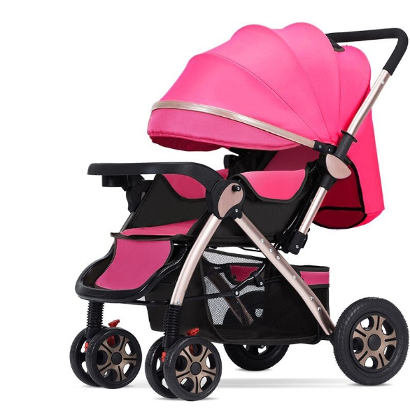 High View Baby Stroller Can Sit or Lie on The Light Folding Four-Wheel Shock Absorbent Baby Baby Two-Way Baby Stroller