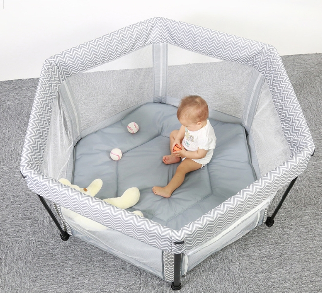 Baby Portable Mesh Playpen Crib Toddler Learns to Crawl in a Hexagonal Folding Crib