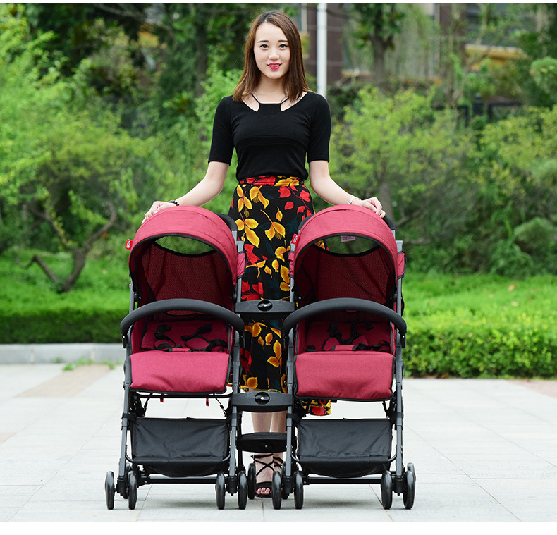 Manufacturer Wholesale Dragon Double Baby Folding Stroller Double Car Strollers 3 In 1 Trolley Twins Baby Strollers