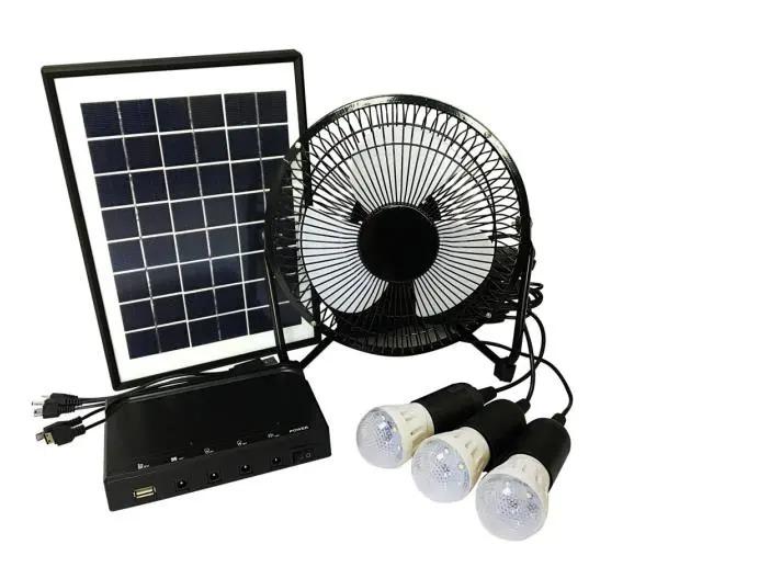 Solar Lighting Kit Portable Multifunction Solar Panel Lighting Home System Solar Generator with Fan