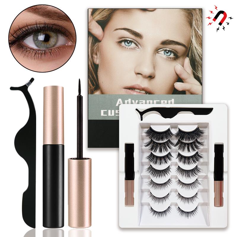 Glue-Free Magnetic Absorption 7 Pairs of Mixed Magnetic Liquid Eyeliner False Eyelashes Set