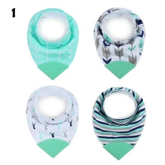 Baby Saliva Towel Pure Cotton Bib 4 Pieces New Baby Bib Double Teether Triangle
