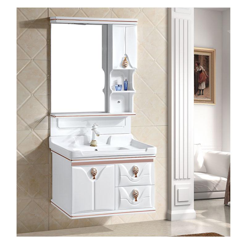 European Style Bathroom PVC Vanity Washbasin Cabinet Combination Household Bathroom Cabinet