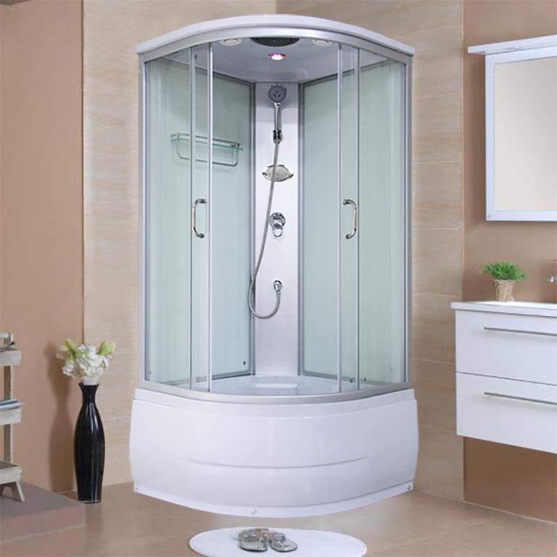 Arc Fan Partition Glass Sliding Door Waterproof Shower Room with Bathtub Bathroom Integral Shower Room