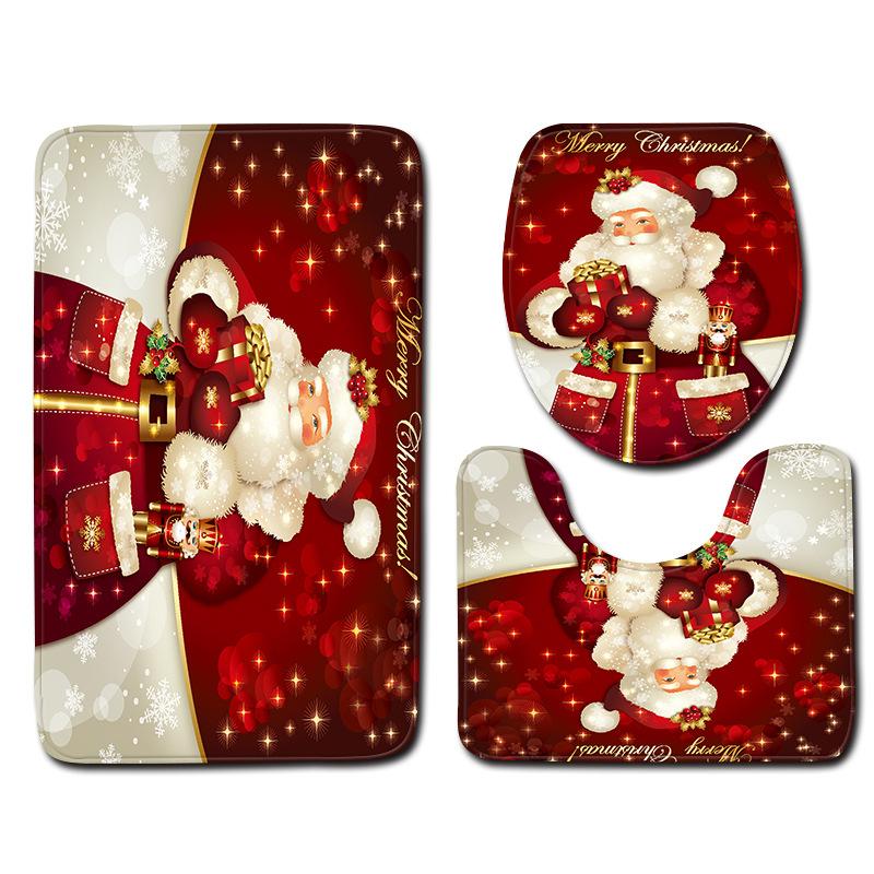 Christmas Snowman Bathroom Non-Slip Carpet Door Mat Toilet Set Three-Piece Set